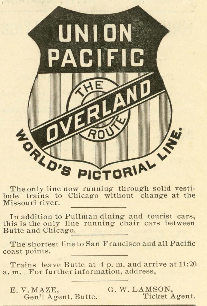 Union Pacific Railroad, Butte, Montana (1896) | Union Pacifi