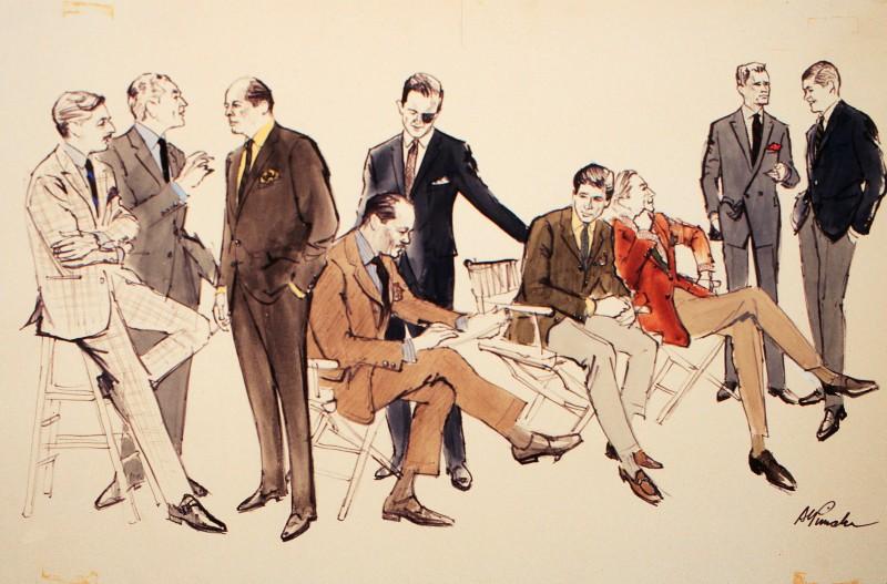 fashion illustration by alvin pimsler nine male figures. Black Bedroom Furniture Sets. Home Design Ideas