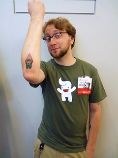 Justin and the 8bit tat he got at Annual | by The Shifted Librarian