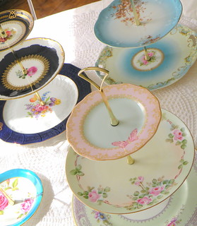 vintage china tea and cupcake stands by high tea for alice | by highteaforalice