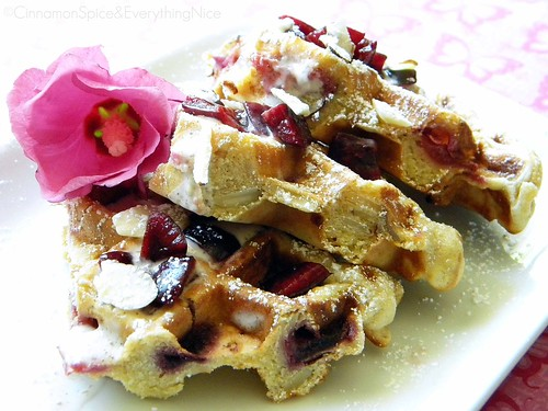 Cherry Waffles with Maple Yogurt Sauce | by CinnamonKitchn