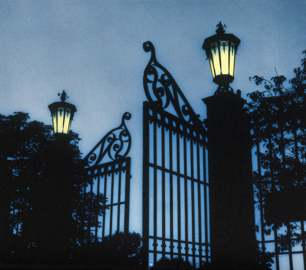 Temple Square Gates At Night This Is From A Hand Tinted