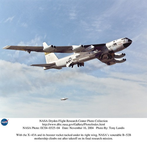 X-43A and its booster rocket tucked under B-52B wing | by NASA on The Commons
