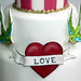 'Love' Tattoo with handpainted Lovebirds