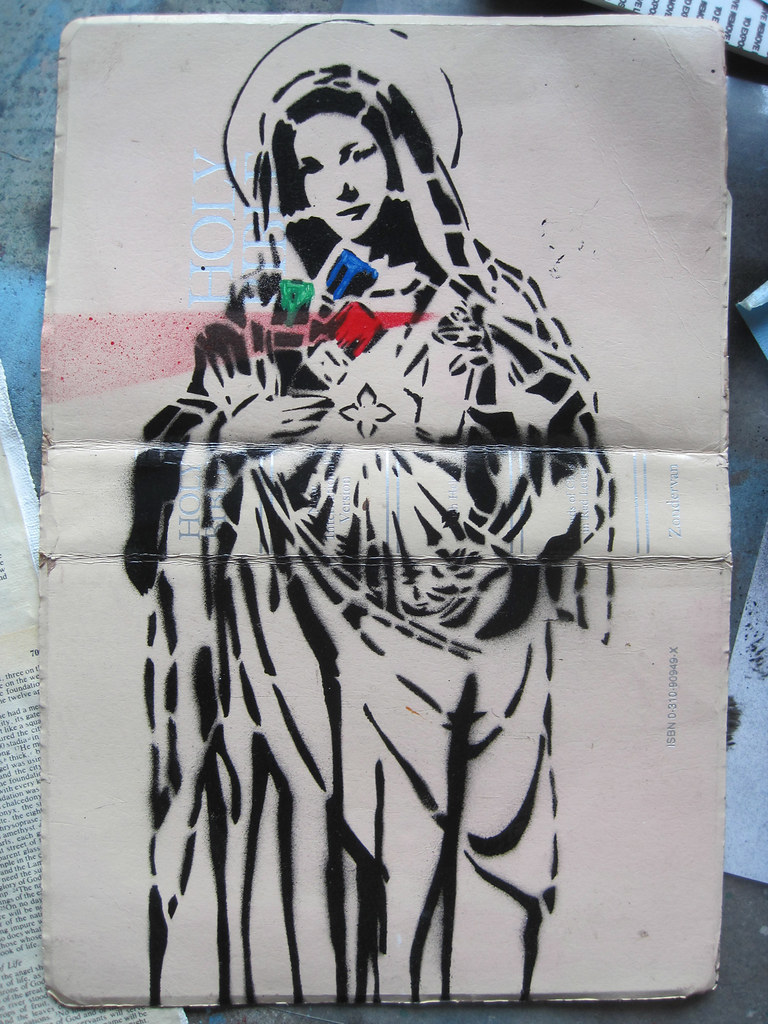 Virgin Mary Stencil On Bible Cover