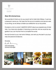 hotel thank you letter