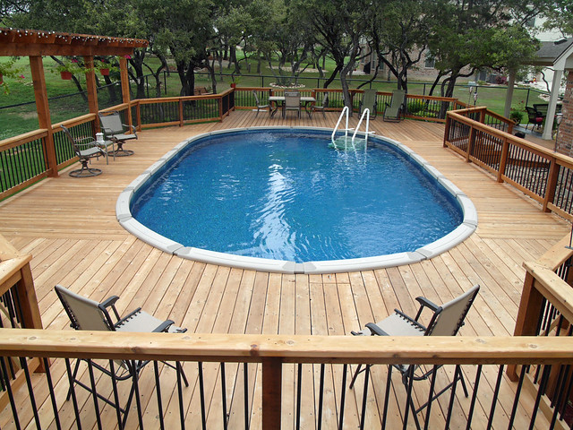 Above ground oval pool helotes bexar county flickr for Above ground oval pool deck plans