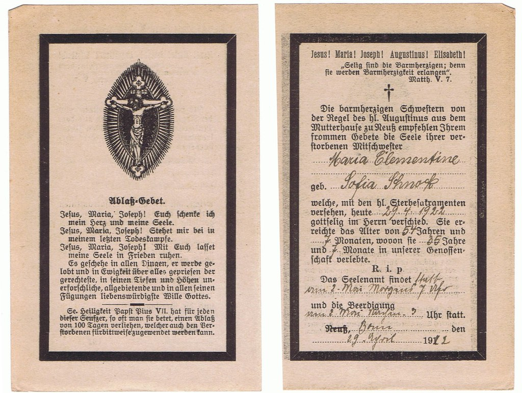 Totenzettel Schnock, Sofia - Schwester Maria Clementine  † 29.04.1922