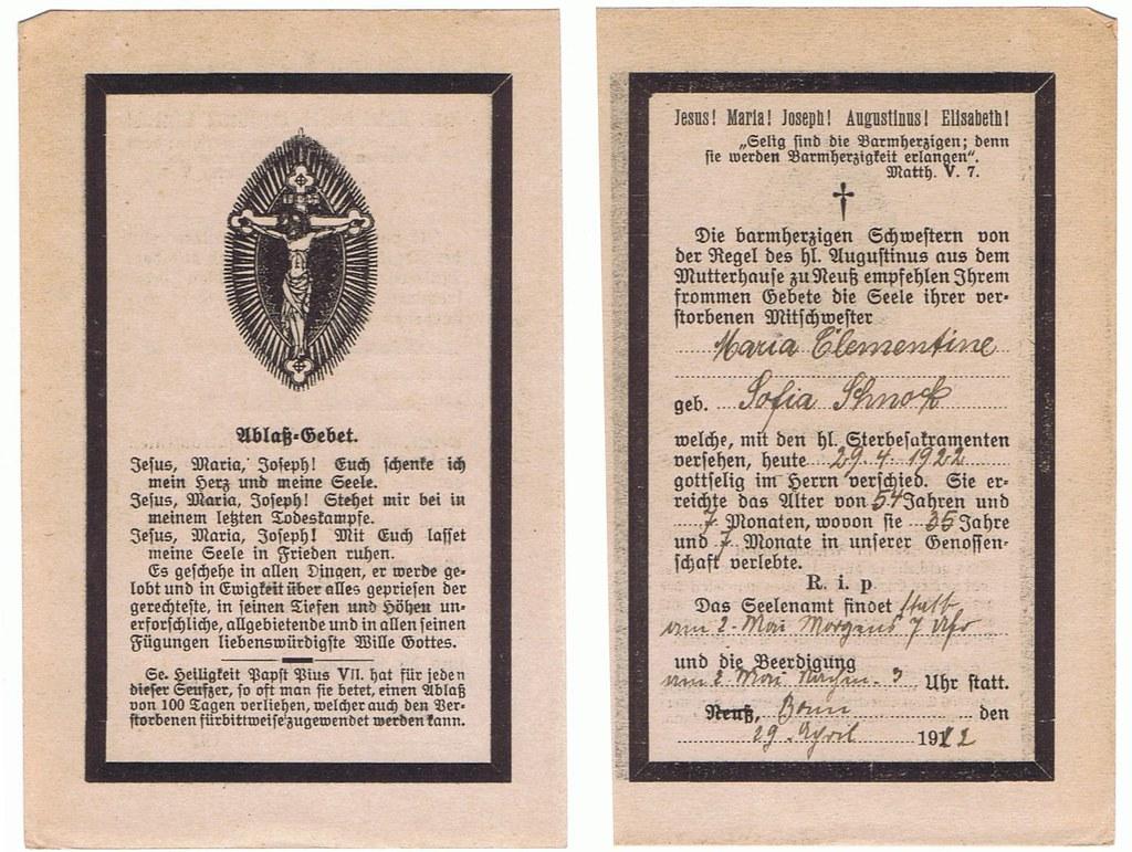 Totenzettel Schnock, Maria Clementine Sofia † 29.04.1922