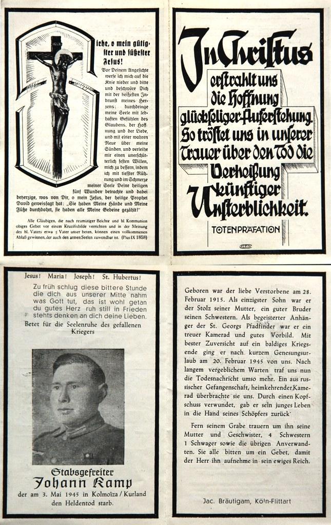 Totenzettel Kamp, Johann Stabsgefreiter † 03.05.1945