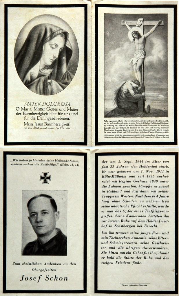 Totenzettel Schon, Josef † 05.09.1944