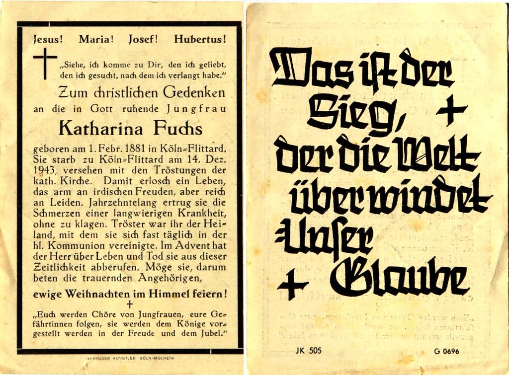 Totenzettel Fuchs, Katharina † 14.12.1943