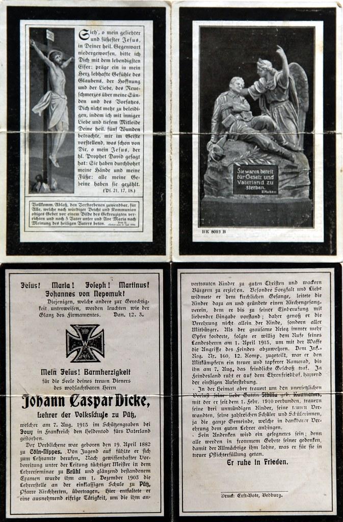Totenzettel Dicke, Johann Caspar † 07.08.1915