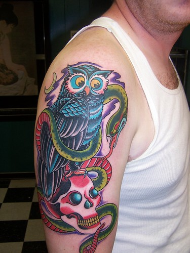 Owl tattoo san antonio tattoo by jason pool san antonio for Element tattoo san antonio