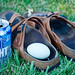 beer, Birkenstocks, bird egg