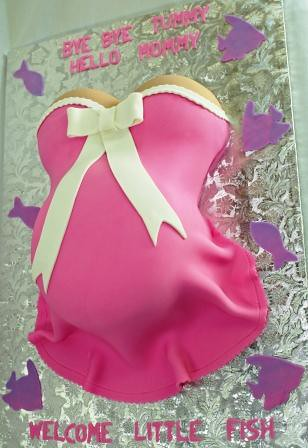 Pregnant Belly Baby Shower Cake In Pink Little Fish Flickr