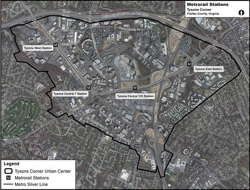 Location Of Future Tysons Metrorail Stations Aerial Map