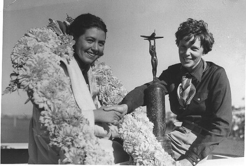 AMELIA EARHART  WITH TROPHY | by San Diego Air & Space Museum Archives