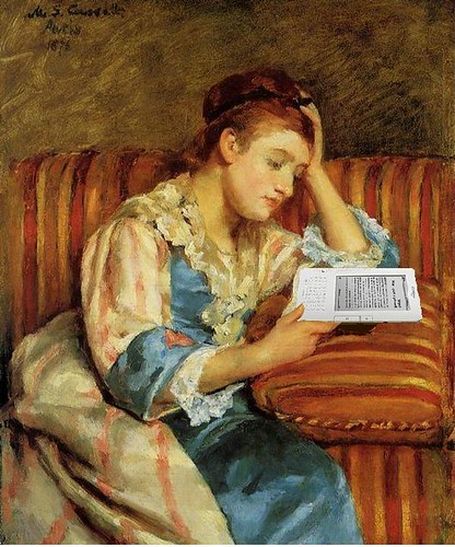 Mrs. Duffee Seated on a Striped Sofa, Reading Her Kindle, After Mary Cassatt | by Mike Licht, NotionsCapital.com