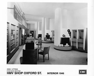 hmv 363 Oxford Street, London - Interior of shop 1946.