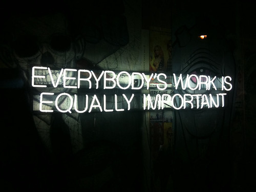 True: Everybody's work is equally important. #levisworkshop | by hizknits