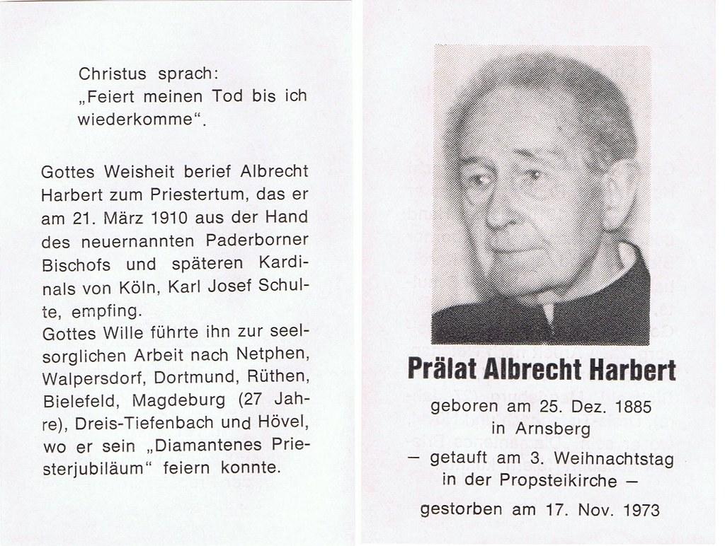 Totenzettel Harbert, Albrecht Praelat † 17.11.1973
