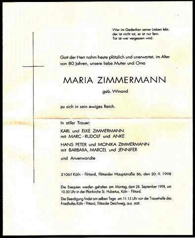 Totenzettel Winand, Maria † 20.09.1998