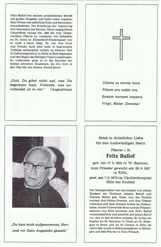 Totenzettel Ballof, Felix - Pfarrer an St.Hubertus in Flittard † 07.06.1973