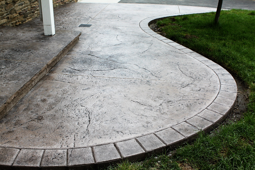 Seamless Stamped Concrete Patio With Hand Tooled Border An