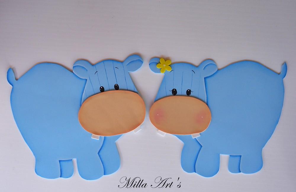 Hipopótamos - Painel para quarto   em EVA pintado à mão   Emilia ...