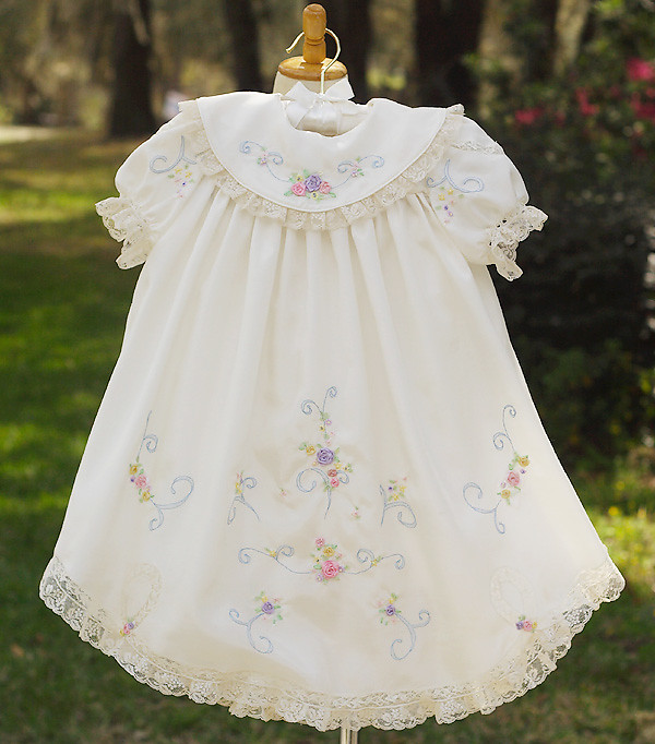 Silk ribbon embroidered dress this was an easter
