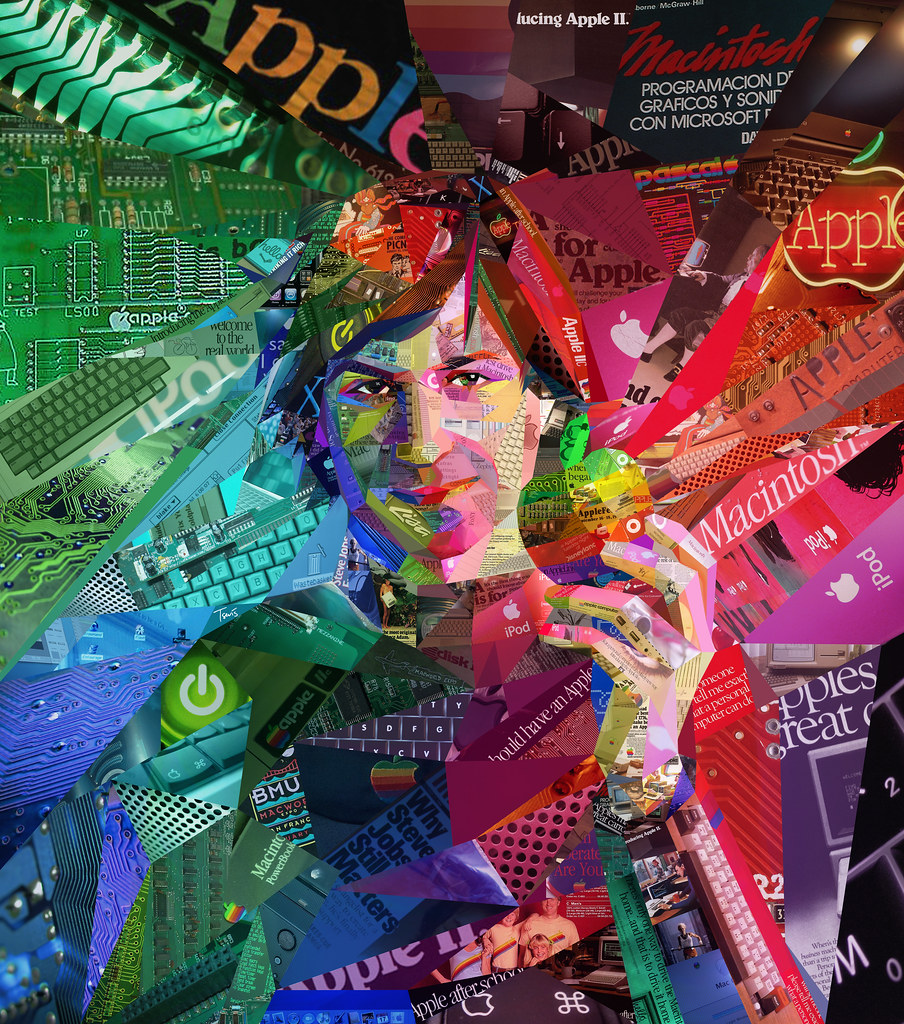 psychedelic steve jobs  collage portrait for alfa magazine