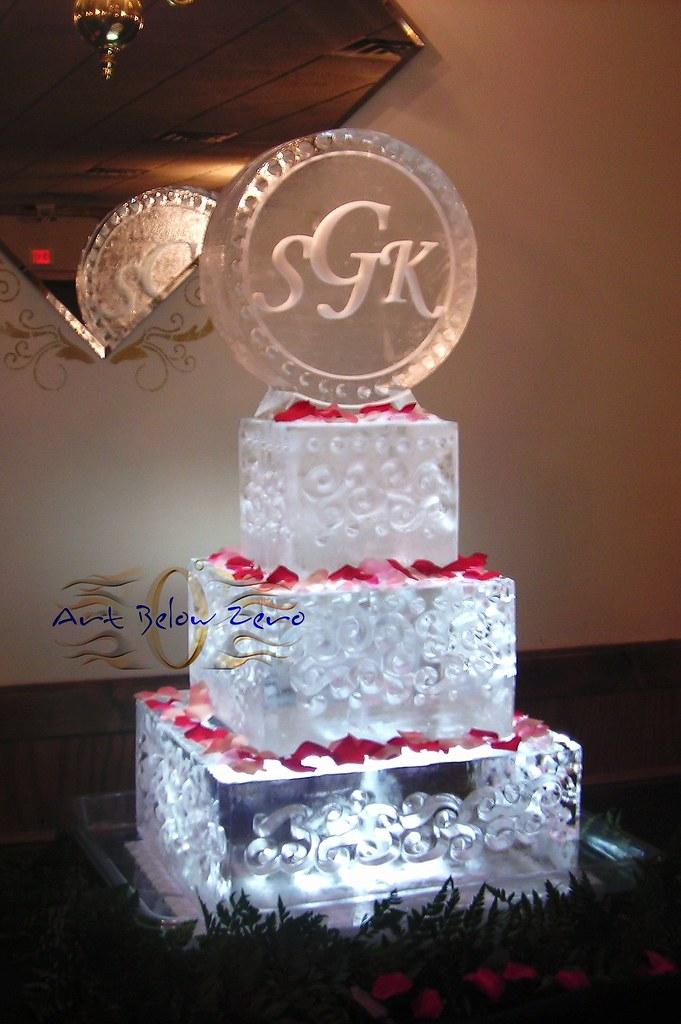 ice sculpture  wedding cake with monogram