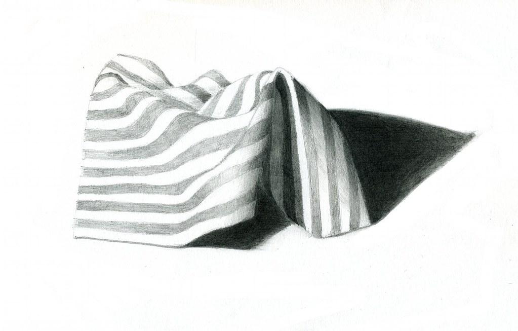 Striped cloth pencil drawing by doc tor matt