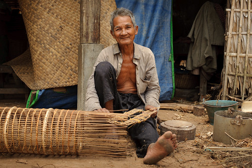 Old Cambodian Man Weaving Baskets | by goingslowly