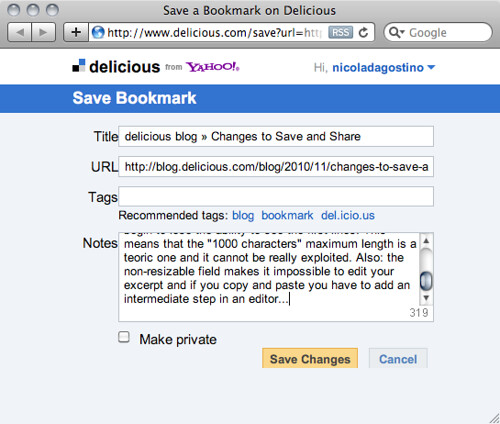 new Bookmark on Delicious - problems 03.png | by nicoladagostino