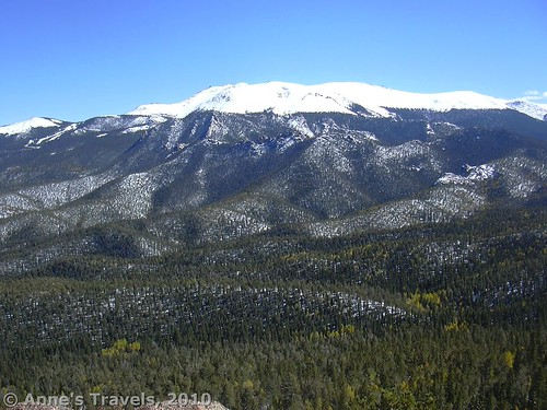 Pike's Peak with fresh snow as seen from Raspberry Mountain, Pike National Forest, Colorado