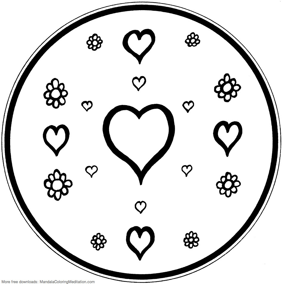 Printable Children Coloring Page Heart Flower Mandala