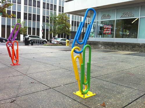 Cool Paper Clip Bicycle Racks at Bally Fitness in Downtown Washington DC | by Wayan Vota