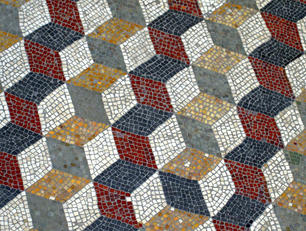 mosaic 3d roman geometric pattern floor mosaic