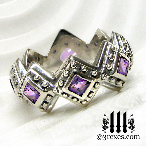 Renaissance Wedding Ring Amethyst Gothic Band 3 Rexes Jewe