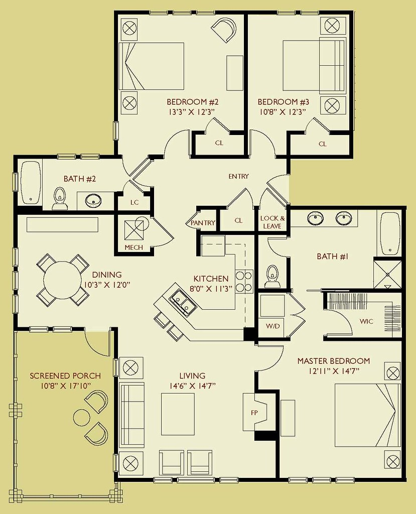 Condo D303 Floor Plan 3 Bedroom 2 Bath Third Floor