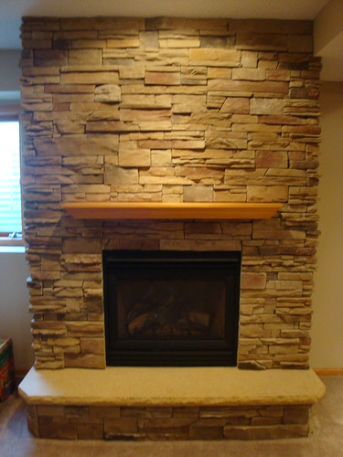Dry stack cultered stone fireplace with hearth full view - Stacked stone fireplace pictures ...