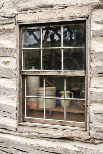 Cabin window with ceramics dummaniosa flickr for Windows for log homes