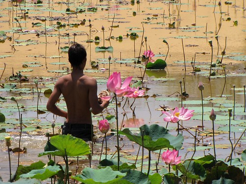 Mui Ne - White Sanddunes - Lilly Pond - Man Wading Into the Water - v1 | by FollowOurFootsteps