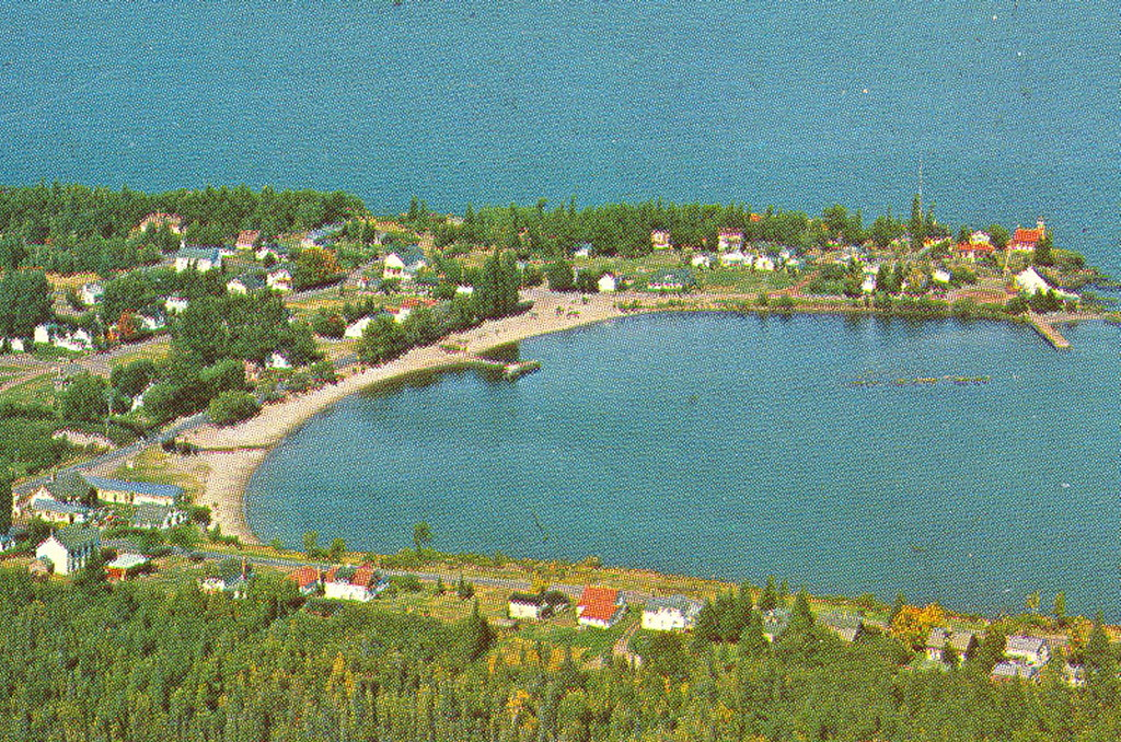 eagle harbor mi up 1960s aerial keweenaw view of downtown