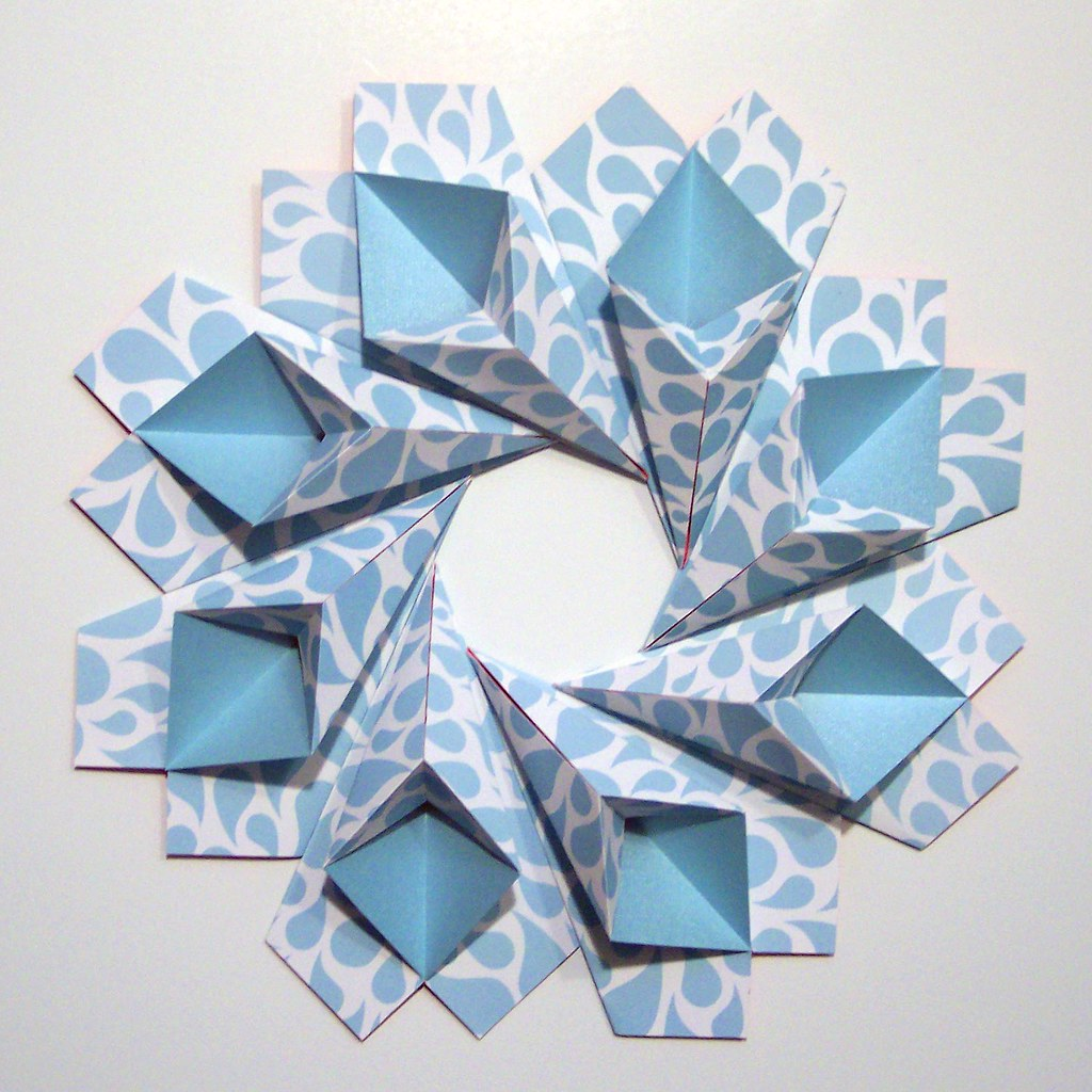 blue teardrop origami wreath original modular origami