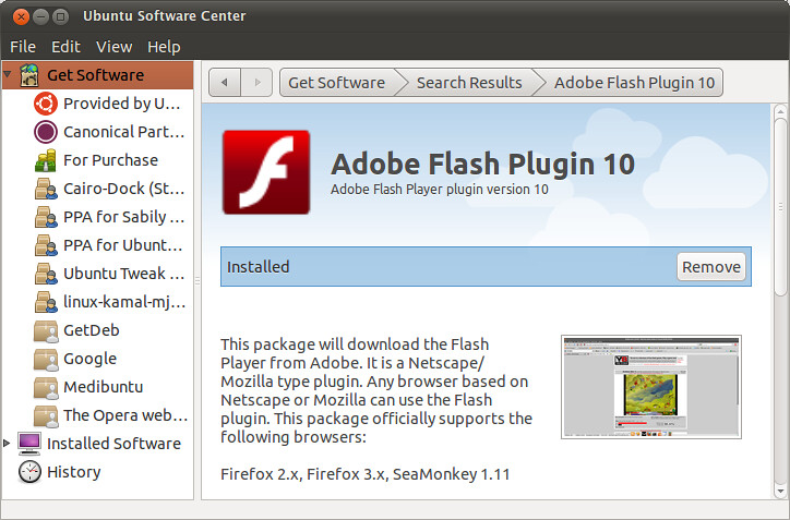 Ubuntu Firefox Flash Player - фото 6