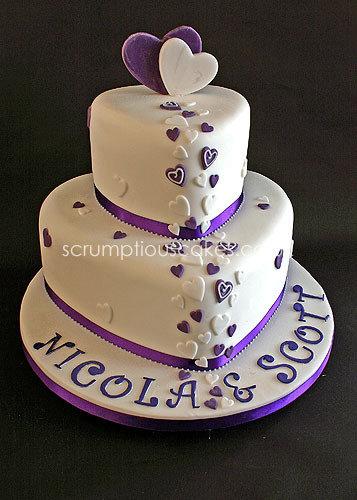 Purple Hearts Wedding Wedding Cake (6...