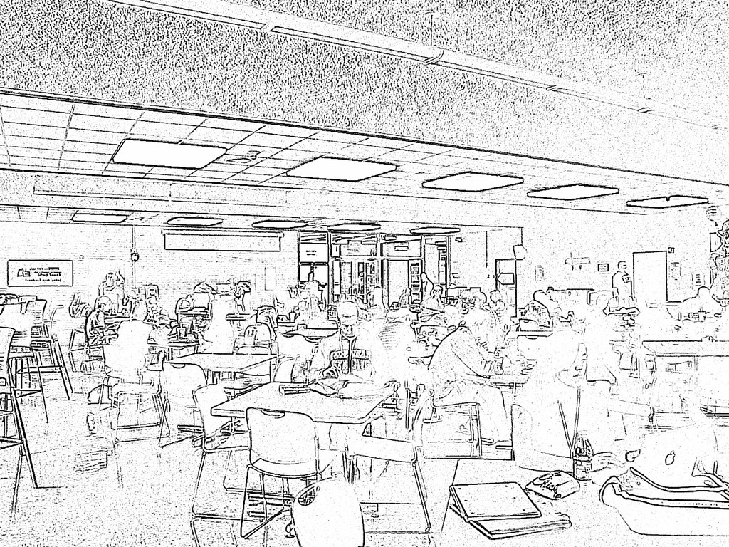 Line Art With Mr E : Cafeteria drawing mode mike flickr